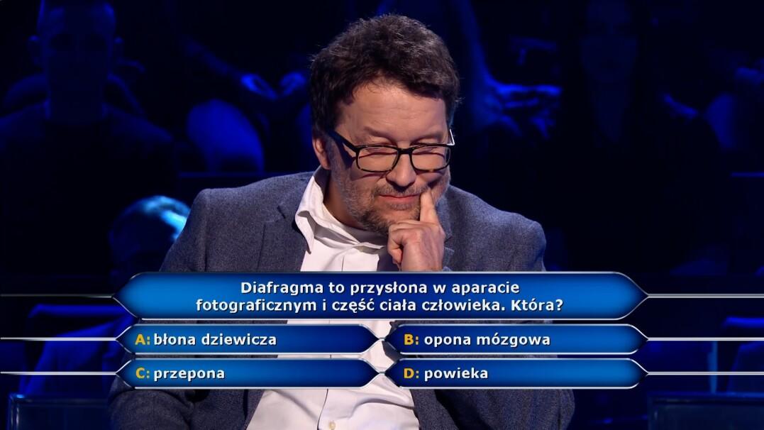"""Pytanie z """"Milionerów"""" o diafragmę za 40 tysięcy złotych"""