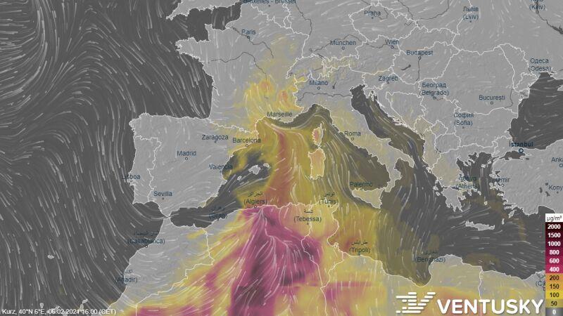 Pył znad Sahary doleciał do Europy (Ventusky.com)