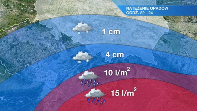 Śnieżny front wkracza do Polski. Na południu ciężka noc