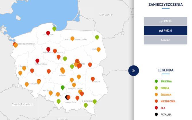 Stężenie pyłu PM2,5 w Polsce o godzinie 14 (tvnmeteo.pl za GIOŚ)