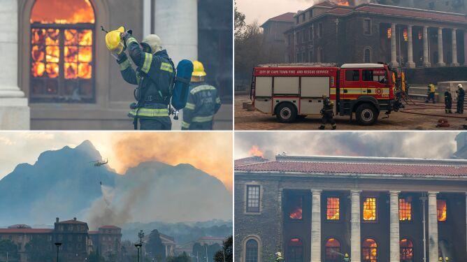 Pożar na zboczu góry wymknął się spod kontroli, zapłonęły budynki uniwersytetu