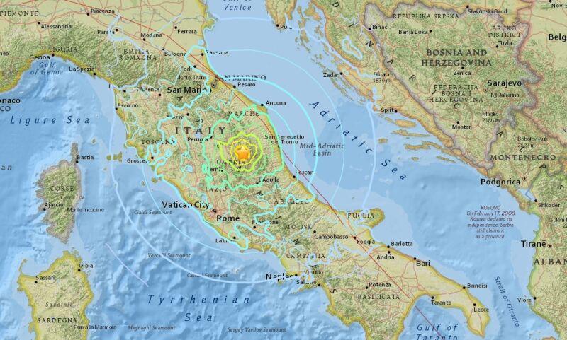 Trzęsienie ziemi wystąpiło około 68 km od Perugii