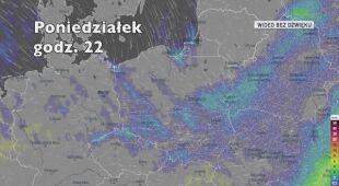Prognoza opadów na najbliższe godziny (Ventusky.com)